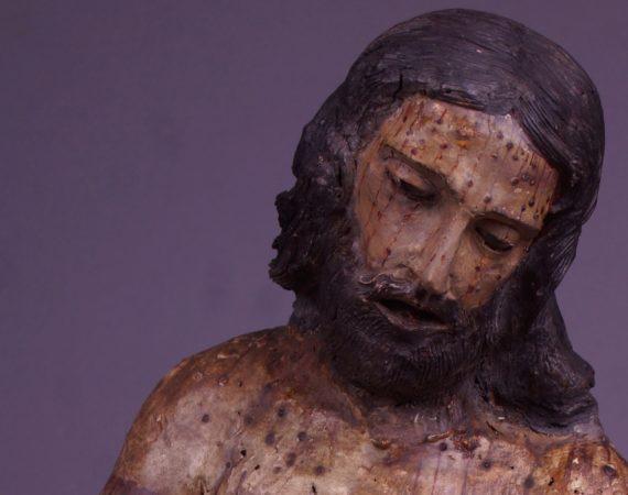 Sculpture 17eme siècle : Christ aux outrages Italie Vers 1600 Bois , polychromé d'époque Yeux en verre